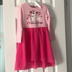 Life of Pets Pink lng sleeve dress w/ sheer bottom